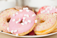 Много donuts на плите Стоковые Фотографии RF