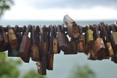 Много padlocks влюбленности Стоковое Изображение