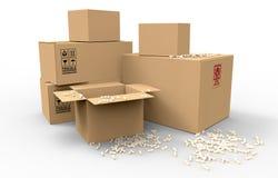 Множественные коричневые коробки упаковки картона Стоковое Изображение RF