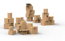 Множественные коричневые коробки упаковки картона Стоковые Изображения