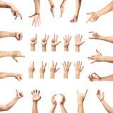 Множественные мужские кавказские жесты рукой изолированные над белым ба стоковая фотография rf