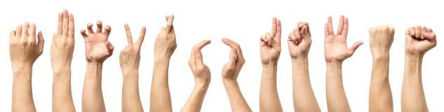 Множественные мужские кавказские жесты рукой изолированные над белым ба стоковые фото