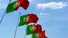 Множественные развевая флаги Португалии против голубого неба перевод 3d иллюстрация вектора