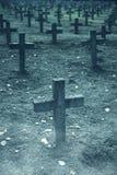 Множество надгробных плит в кладбище стоковое фото rf