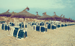Множество loungers солнца Стоковое фото RF
