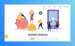 Мобильная страница посадки передачи оплаты банка интернета Онлайн обслуживание Cashback для бумажника банка в сделке смартфона бесплатная иллюстрация