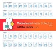 Мобильное собрание значка, ход значка плана, значки документа, значки средств массовой информации, электронная почта, сообщения,  иллюстрация вектора