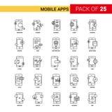 Мобильные приложения чернят линию значок - набор значка плана 25 дел иллюстрация вектора