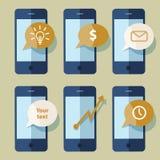 Мобильные телефоны со значками также вектор иллюстрации притяжки corel иллюстрация штока