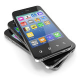 Мобильные телефоны с сенсорным экраном. Стоковые Изображения