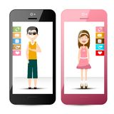 Мобильные телефоны с человеком и женщиной вектор мобильных телефонов иллюстрации элементов конструкции бесплатная иллюстрация