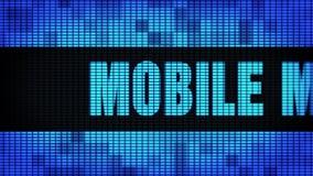 Мобильный выходя на рынок фронт отправляет SMS перечислению доски знака дисплея с плоским экраном стены СИД сток-видео