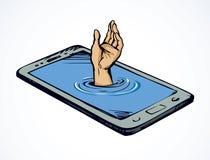 Мобильный телефон предпосылка рисуя флористический вектор травы стоковые фотографии rf