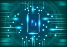 Мобильный телефон с цифровой концепцией безопасностью Стоковая Фотография