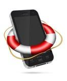 Мобильный телефон с lifebuoy иллюстрация вектора