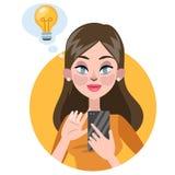 Мобильный телефон удерживания женщины и иметь идею бесплатная иллюстрация