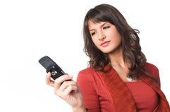 мобильный телефон девушки Стоковая Фотография