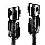 Мобильные телефонные связи мачтовой антенны силуэта Стоковые Изображения