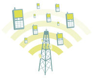 Мобильные телефоны антенны transmtting Стоковое Изображение