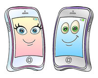 Мобильные телефоны шаржа Стоковые Изображения