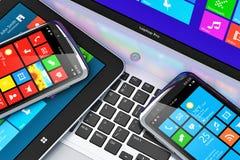 Мобильные устройства с интерфейсом сенсорного экрана иллюстрация штока
