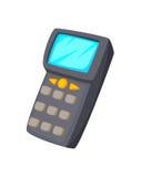 Мобильный компьютер дизайна технологии концепции шаржа Handheld в штрихкоде руки или блока развертки на белой предпосылке Стоковое Изображение