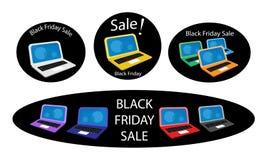 Мобильный компьютер на черной предпосылке продажи пятницы Стоковое фото RF