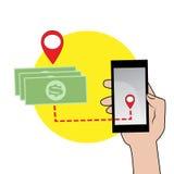Мобильный телефон в значке руки и денег Стоковые Изображения RF