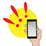 Мобильный телефон в значке руки иллюстрация вектора