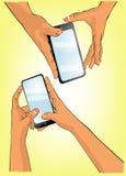 Мобильный телефон игры руки Стоковая Фотография