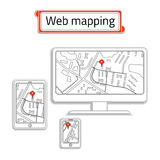 Мобильный телефон, компьютер (ПК) и таблетка с картой интернета Отображение сети названия внутри красной коробки Стоковая Фотография RF