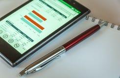 Мобильный телефон, ручка и блокнот Стоковые Изображения RF