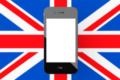 Мобильный телефон с пустым экраном перед Великобританией Gre Стоковое Фото