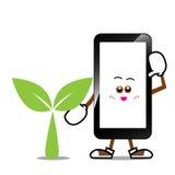Мобильный телефон, умный шарж телефона Стоковые Изображения