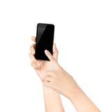 Мобильный телефон экрана касания, в руке стоковые фотографии rf