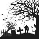 Могила дерева зомби иллюстрация вектора