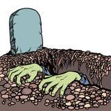 Могила зомби Мертвые руки человека иллюстрация штока