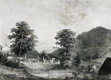 Могила иллюстрации ландшафта кладбища Филипп Embury иллюстрация вектора