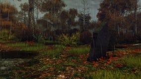 Могильный камень в лесе осени на ненастной ноче Стоковые Фотографии RF