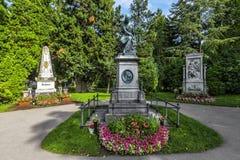 Могилы композиторов известных на кладбище Zentralfriedhof в VI Стоковое Изображение