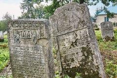 Могильные камни в еврейском кладбище Стоковые Фото