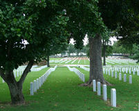 Могильные камни национального кладбища Fort Smith в погосте Стоковая Фотография