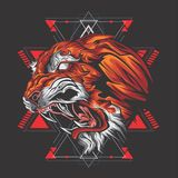 Могущественный тигр иллюстрация вектора