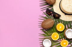 Мода лета плоская кладет Ладонь круглых ультрамодных солнечных очков соломенной шляпы сумки ротанга тропическая выходит апельсин  стоковое изображение
