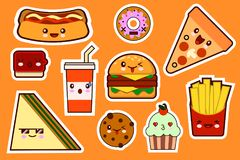 Мода фаст-фуда, комплект значка иллюстраций стикеров kawaii шаржа gamburger, пицца, сандвич, торт плоско Стоковое Изображение RF