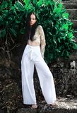 Моделируйте с темными длинными волосами в брюках широк-ноги классических представляя около зеленых тропических экзотических листь Стоковое Изображение