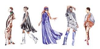 Модели в различных одеждах эскиз бесплатная иллюстрация