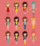 Модели девушек моды улицы носят стильное стиля модное иллюстрация вектора