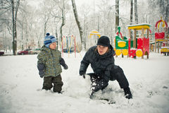 модельные детеныши сынка снеговика мати Стоковые Фото