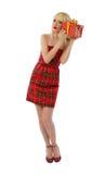 Модельный представлять в красном платье Стоковое Фото